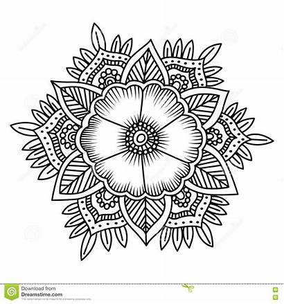 Mandala Coloring Flower Doodle Vektorillustration Farbtonseiten Printable