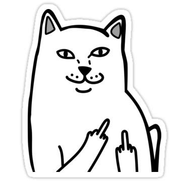 Middle Finger Cat Meme - middle finger cat by tendro stickers pinterest middle fingers finger and middle