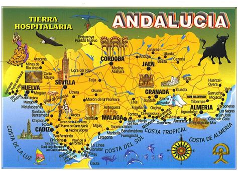 andulusian spain spain andalucia picture  map postcard