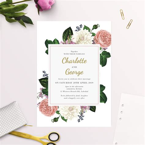 Romantic Blush Roses Elegant Wedding Invitations