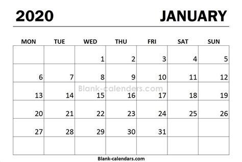 print calendar  january monday start  calendar