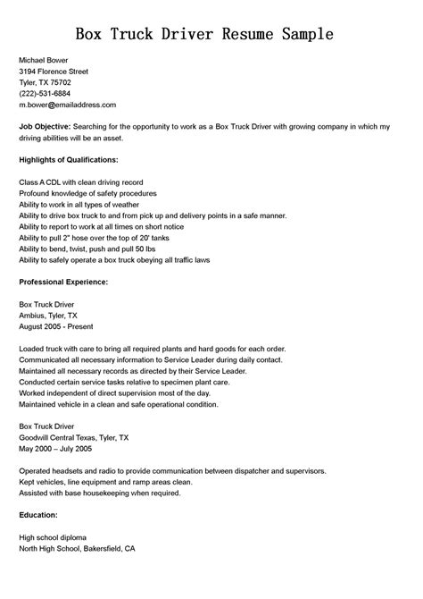 objective for truck driver resume driver resumes box truck driver resume sle