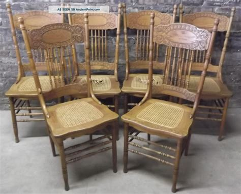 set of 6 antique c1900 victorian press back oak dining