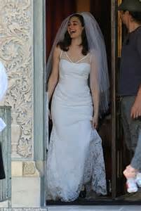 emmy rossum slips into wedding gown to film shameless With emmy rossum wedding dress