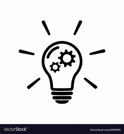 Innovation Icon Bulb Concept Gear Vector Sign