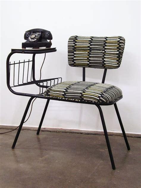 vintage mid century wrought iron gossip telephone chair