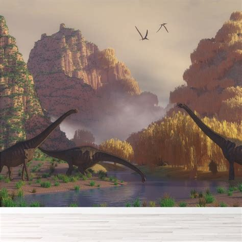 dinosaur scene wall mural wallpaper