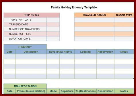 trip itinerary maker vacation itinerary template family vacation planner