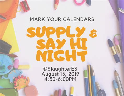 school supply lists slaughter elementary