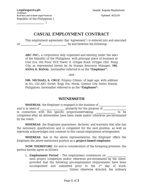 Sample - Project-Based Employment Contract - Legalaspects.ph | United States Labor Law | Working