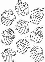 Cupcake Coloring Pages Birthday Para Chart Cupcakes Dibujos Ice Cakes Adult Colouring Drawings Sweets Colorear Bojanke Cream Creams Drawing Sheets sketch template