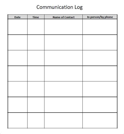 7 Communication Log Samples Pdf Word Sample Templates