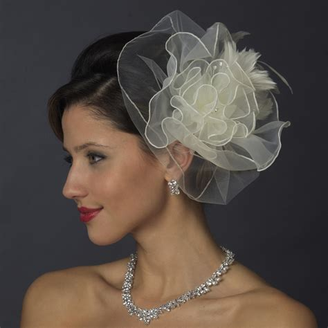 organza flower fascinator hair clips elegant bridal hair