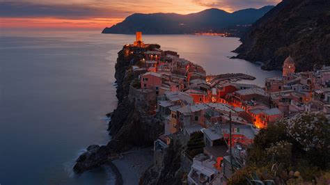 vernazza italy sea  mountains nature landscape full hd  wallpaper
