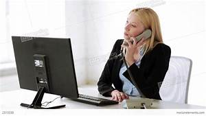 Attractive Office Worker Taking Phone Call Stock video ...