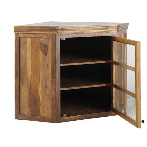 d馗or de cuisine meuble haut d 39 angle vitré de cuisine ouverture droite en bois de sheesham massif l 118 cm luberon maisons du monde