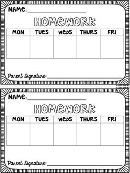 homework template editable weekly homework template by laugh eat learn tpt
