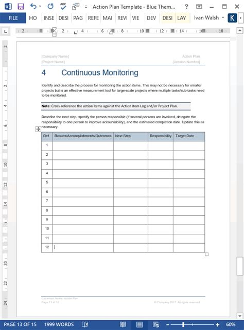 action plan template  page word template  excel