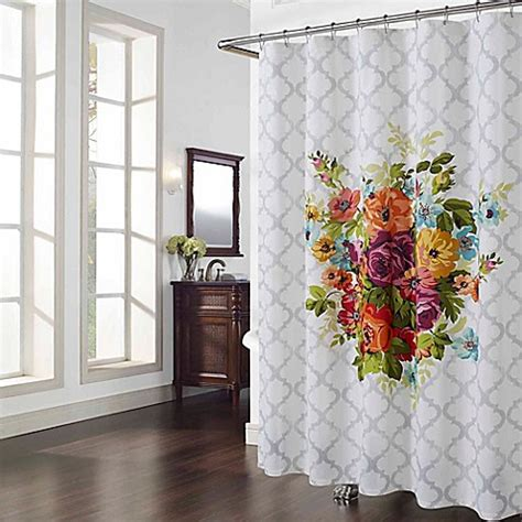 flower shower curtain multicolor floral shower curtain bed bath beyond