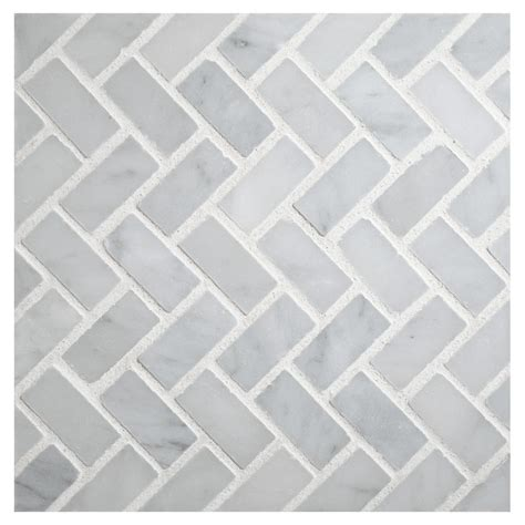 herringbone mosaic tile polished white carrara marble