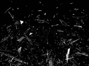 Pieces of Broken Shattered glass on black | Stock Photo ...