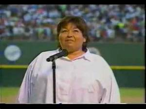 Roseanne sings the National anthem - YouTube