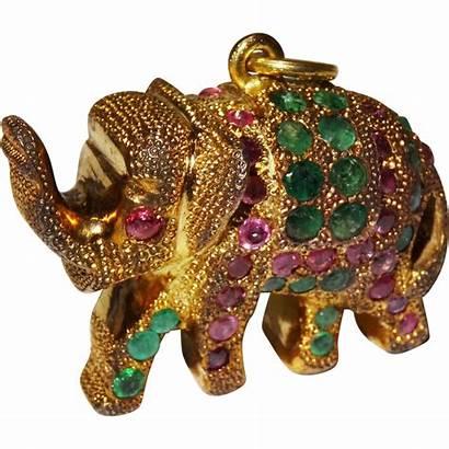 Unique Gemstone Elephant Pendant Charm Vermeil