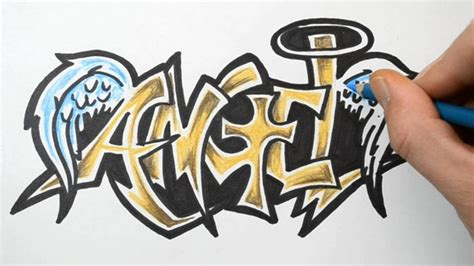 how to draw in graffiti writing sketch demonstration youtube