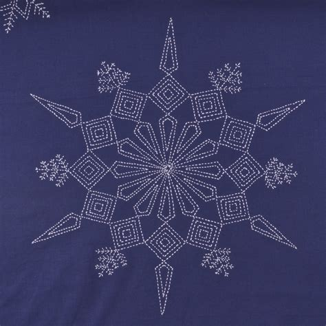 large sashiko snowflake pattern a threaded needle