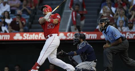 mike trout exits angels game early   calf tightness