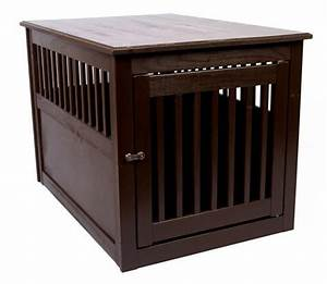 Wood dog crate end table furniture pet cage indoor house for Large end table wooden dog crate