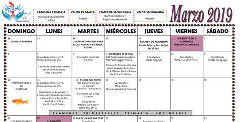 calendario mes de marzo