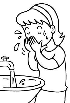Wash Face Coloring Page | Body | Pinterest | Face
