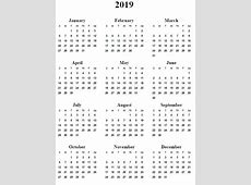 2019 Calendar Word 12 Month Calendar in One Pages