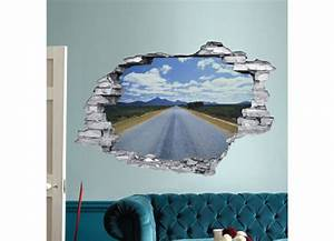 Trompe L Oeil Mur : sticker trompe l 39 oeil 3d mur d chir route ~ Dode.kayakingforconservation.com Idées de Décoration