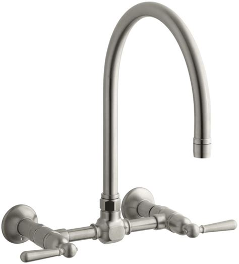 kohler high rise bridge faucet faucet k 7338 4 bs in brushed stainless by kohler