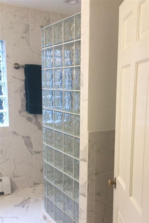glass block shower glass blocks and marble tile bathroom