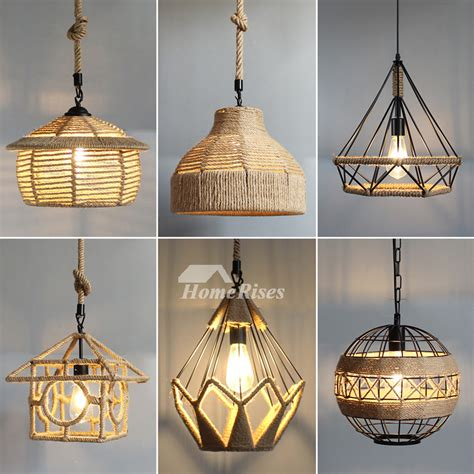 rustic pendant lights hanging rope  kitchen hollow