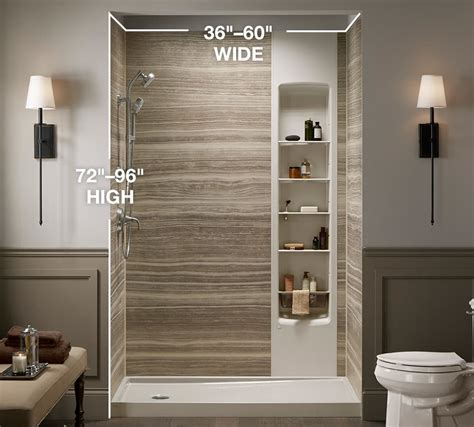 walk  shower dimensions shower sizes kohler luxstone