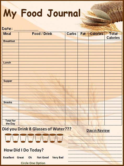 food log template printable  excel format