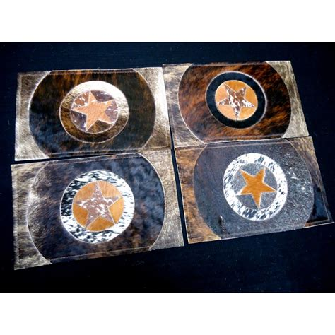 Cowhide Placemats by Cowhide Placemat Sets Cowhide Table Setting