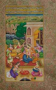Miniature Painting Royal Rajput Artwork India Hindu Foresr