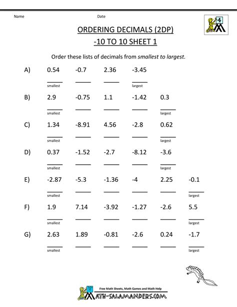 math worksheets 4th grade ordering decimals to 2dp