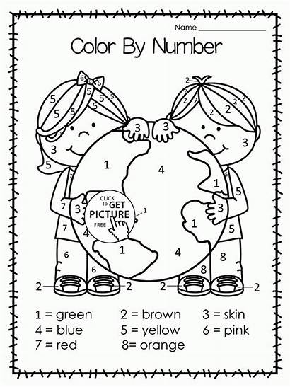 Number Coloring Worksheets Earth Pages Kindergarten Wuppsy
