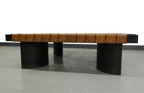 Brown leather ottoman coffee table | coffee table design ideas. Industrial Woven Leather and Steel Coffee Table For Sale at 1stdibs