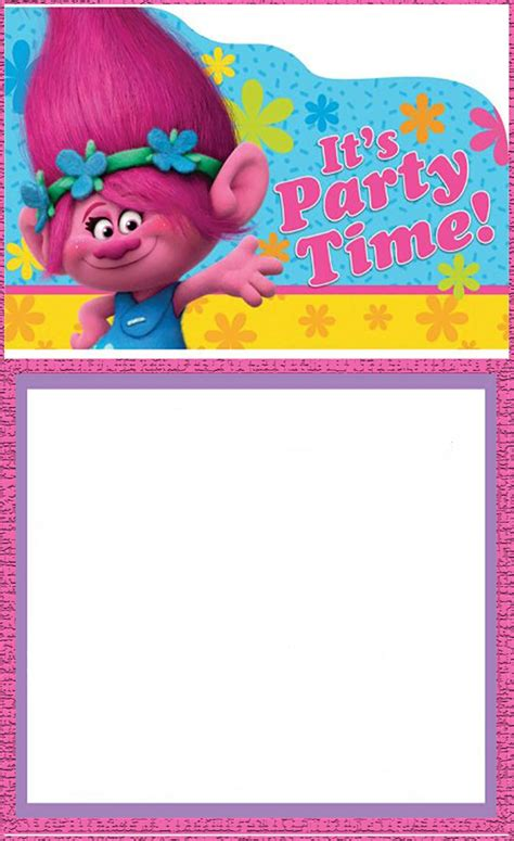 printable trolls invitation card invitations