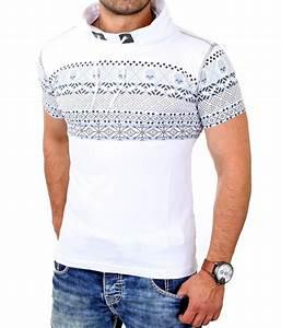 Pull Manche Courte Homme : tee shirt homme col montant blanc manche courte fashion ~ Dode.kayakingforconservation.com Idées de Décoration