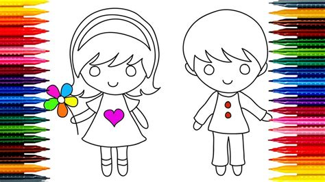 draw kids girl boy simple drawing  coloring