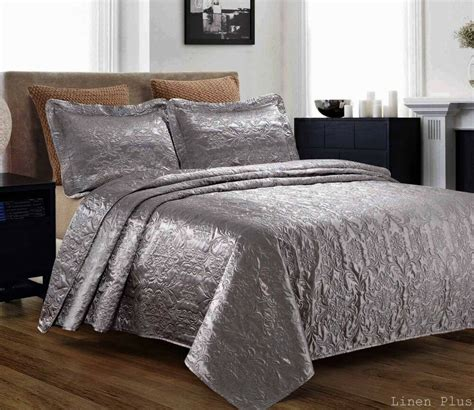 Quilted Coverlet Set by 3 Silky Satin Gray Quilted Bedspread Coverlet Set