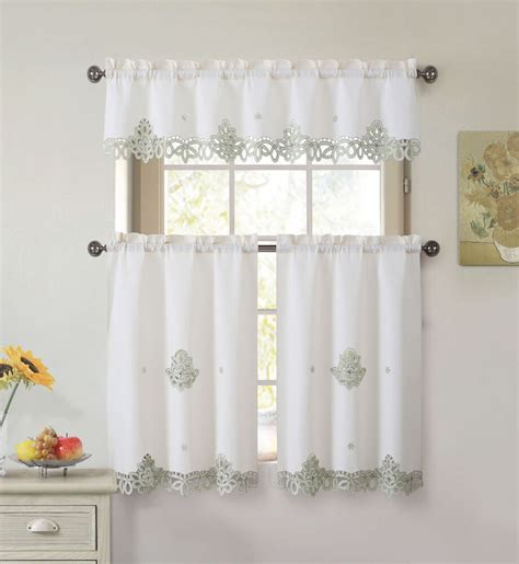 drapery sets 3 doily embroidered kitchen window curtain set